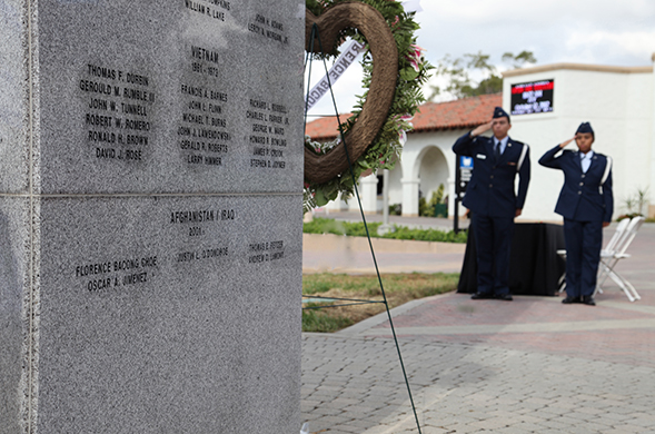 The memorial is a tribute to former SDSU students killed in World War II, Korea, Vietnam, and now Afghanistan and Iraq.