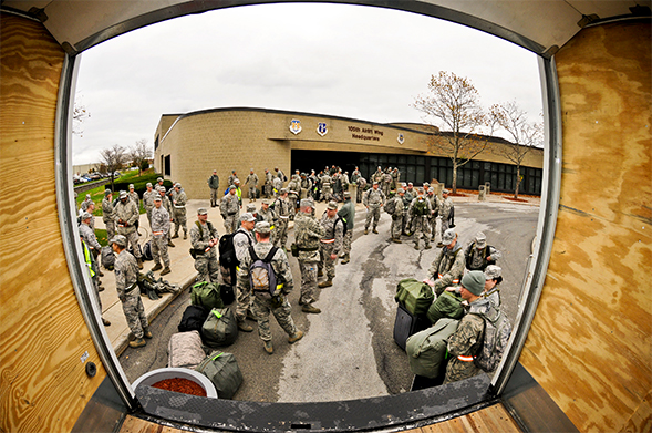 Military experience often includes natural disaster preparation and response, like  these airmen preparing for deployment as part of New York's response to Hurricane Sandy.