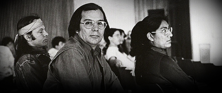John Rouillard, center, served as the inaugural chair of the American Indian Studies department.