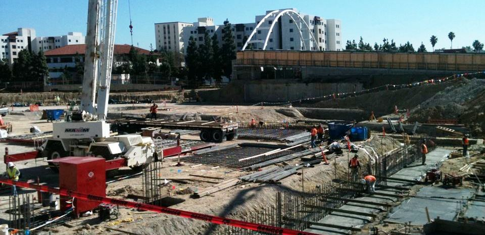Student-funded Aztec Student Union goes vertical with pouring of foundations.