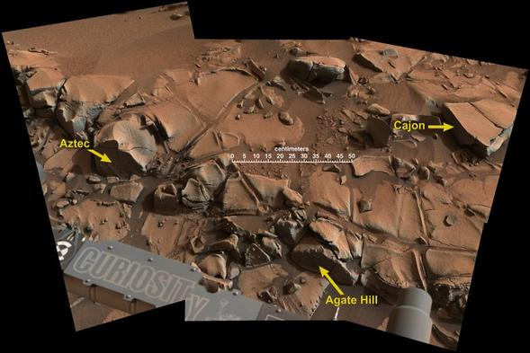 "Curiosity's science team named the left-most object ""Aztec."" Credit: NASA/JPL-Caltech"