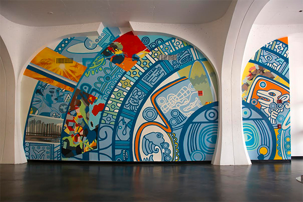 The mural is located in the old entrance to Love Library.