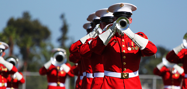 The Marine Drum and Bugle Corps includes 84 musicians.