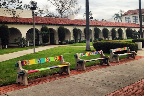 Benches located behind Hepner Hall.