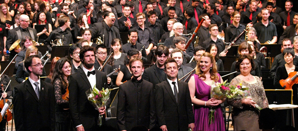 """Carmina Burana"" musicians smile after the encore performance. Photo by Pia Ruggles"