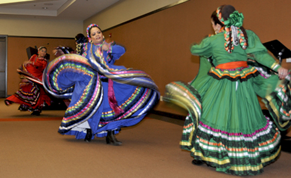 Members of the Hispanic Mexican Ballet Perform at the Cesar E. Chavez Luncheon at the Parma Payne Goodall Alumni Center April 13