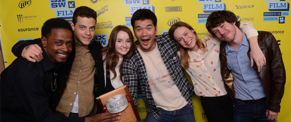 "Cretton (fourth from left) and the crew from ""Short Term 12"" in March at South by Southwest."