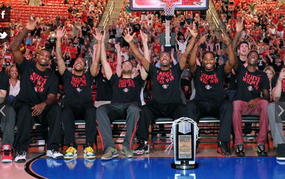 The Aztecs celebrate during the selection show (photo by Ernie Anderson)