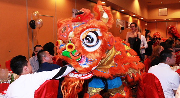 The second annual Golden Treasures Banquet featured a lion dance by students of the Three Treasures Cultural Arts Society.