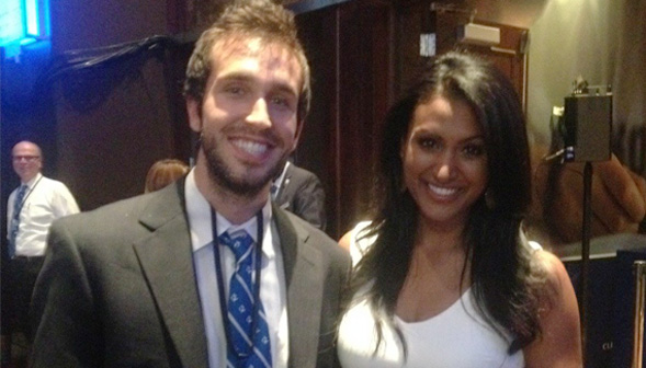 Mendelson and Miss America, Nina Davuluri, at the Clinton Global Initiative.
