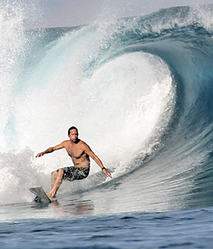 Thom McElroy surfing in Indonesia