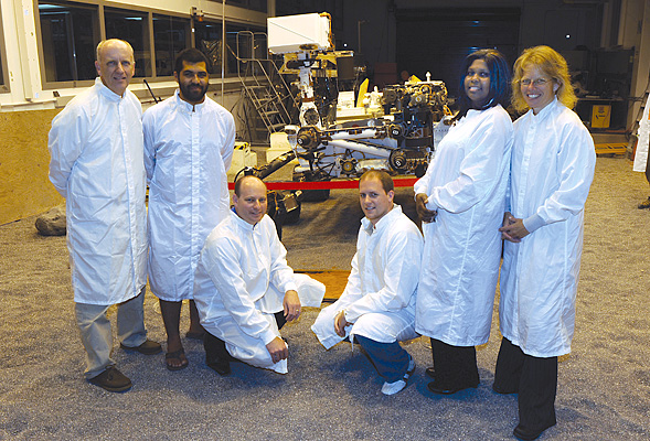 Aztecs inside the Mars testbed are (from left): Doug Clark, Joey Brown, Jordan Evans, Brandon Florow, Amanda Thomas, Bonnie Theberge. Mark Ryne is pictured below.