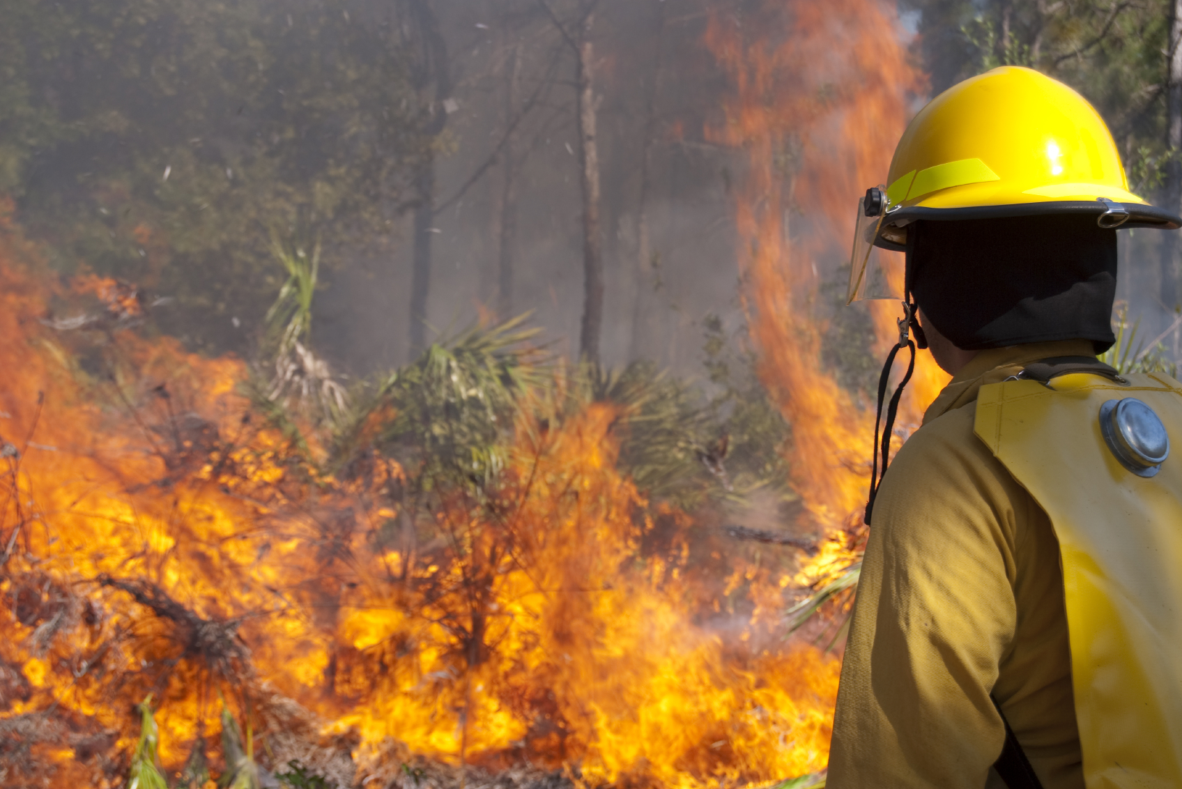 A firefighter fights a recent Southern California wildfire.