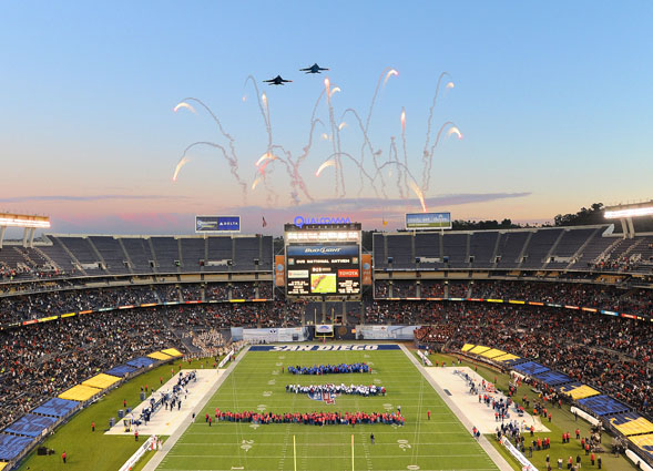 The Aztecs took on the BYU Cougars in the 2012 Poinsettia Bowl at Qualcomm Stadium. Photo by Ernie Anderson.