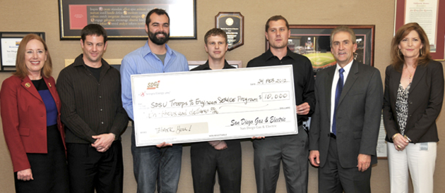 SDG&E presents the College of Engineering with a donation for the Troops to Engineers program