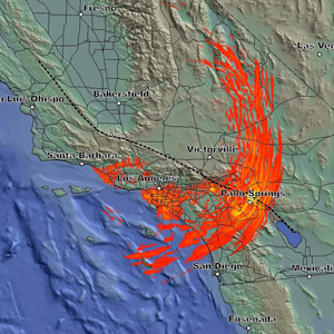 Still image of an earthquake simulation.
