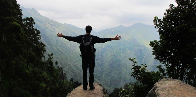 SDSU's Eric McDermott takes in the view at Dolphins Point in the mountains of Tamil Nadu during his Fulbright trip to India.