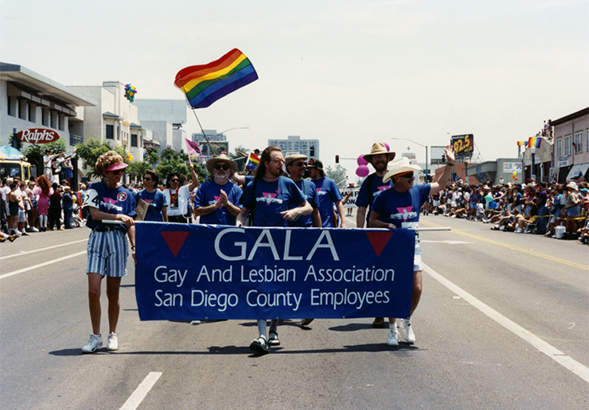 "This historical image from the San Diego Pride Parade is just one of the documents that will be included in ""Out on the Left Coast."""