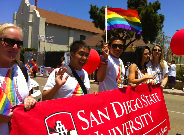 Members of the SDSU community enjoying the 2011 Pride Parade.