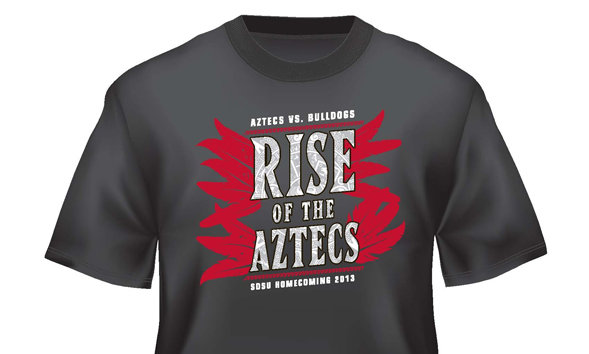 Homecoming t-shirts will be available at the SDSU Bookstore at the end of September.