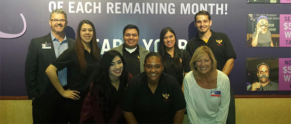 HTM 371 students pose with Janet Beronio (front left), general manager of Harrah's Southern California.