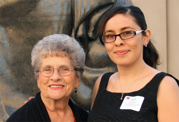Judith James, '58, and Ingrid Medrano, '11. Medrano received the Russ and Judith James Endowed Scholarship Fund last year. Phot by  Hayley Roder.