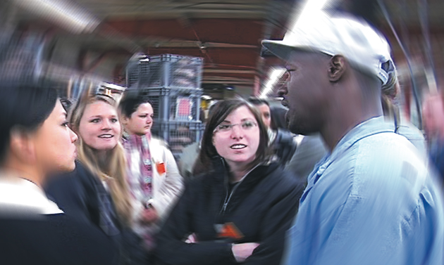 SDSU students talk with inmates during their week-long tour of California prisons.