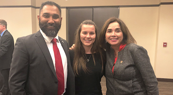 Katie Dillon (center) with her mentor and clinical neuroscientist Harsimran Baweja (left) and SDSU President Adela de la Torre at a Campanile Foundation event during the 2019-2020 academic year.