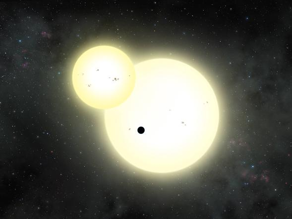Artist's impression of the simultaneous stellar eclipse and planetary transit events on Kepler-1647 b. Such a double eclipse event is known as a syzygy. (Credit: Lynette Cook)