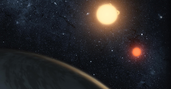 This artist's concept illustrates Kepler-16b, the first planet known to definitively orbit two stars.  Courtesy of NASA