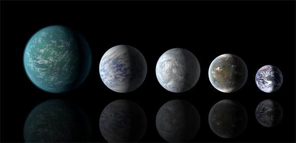 An artist's impression of the planets that Kepler has confirmed in the habitable zone. Relative sizes of all of the habitable-zone planets discovered to date alongside Earth. Credit: NASA