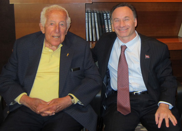 Leonard H. Lavin (left) and SDSU President Elliot Hirshman celebrate the naming of the Lavin Entrepreneurship Center.