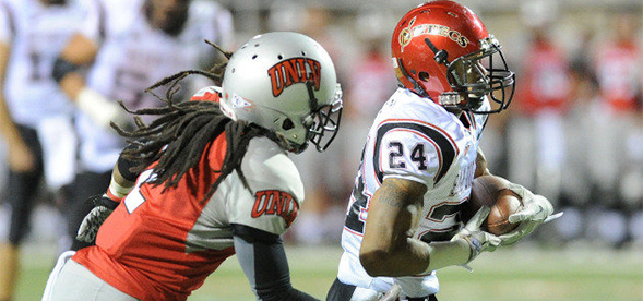 Aztec wide receiver Colin Lockett torches a UNLV cornerback in a game last season.