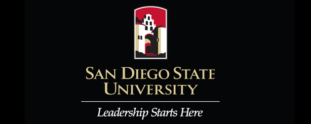 "SDSU logo with the new tagline, ""Leadership Starts Here"""