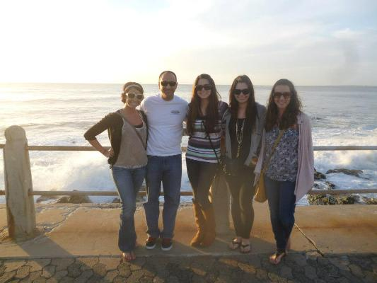 The SDSU research team at Sea Point Beach in Cape Town (from left to right: Hannah Martin, Peter Torre, Alyssa Cook, Kristin Pitera and Lucia Kearney).