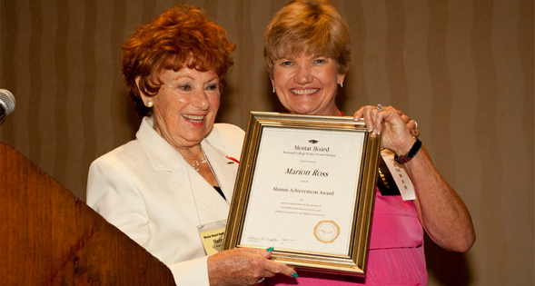 Marion Ross received the Mortar Board Alumni Achievement Award from national Mortar Board president, Susan Caples.