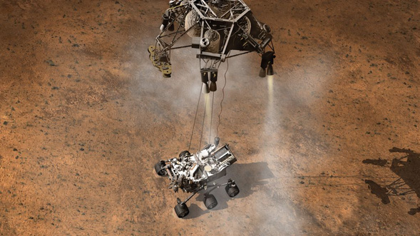 Curiosity Touching Down, Artist's Concept. Credit: NASA/JPL-Caltech <br> VIDEO: Challenges of Getting to Mars: Curiosity's Seven Minutes of Terror