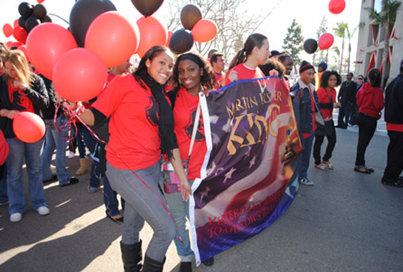 SDSU students at the annual Martin Luther King, Jr. Day Parade in 2011.