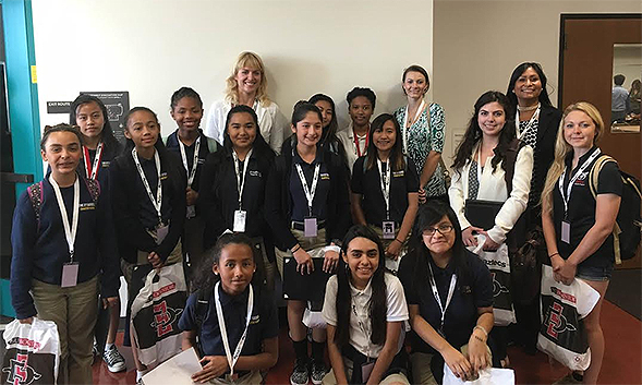 Students in the MESA Schools Program at O'Farrell Charter School visited SDSU for the event.