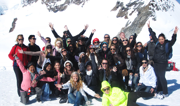 SDSU students on a study abroad trip in Switzerland.