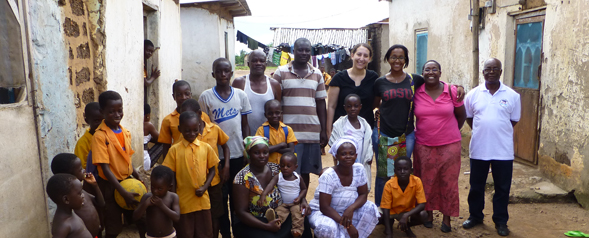 Estralita Martin and Nadine Ayouty visit a village in Ghana.