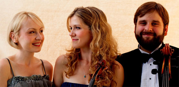 The Neave Trio, from left, pianist Toni James, violinist Anna Williams, cellist Mikhail Veselov.