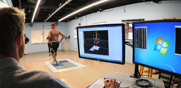 An SDSU athlete tests the new program.