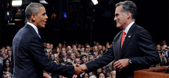 President Obama and Mitt Romney shaking hands during the 2012 campaign.