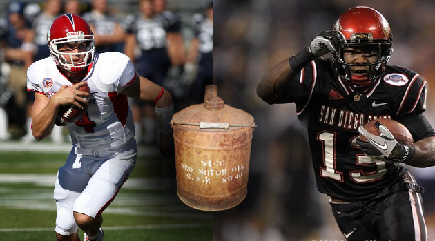 The  Bulldogs and Aztecs will have their eyes on an antique oil can, which will be awarded to the winner of this Saturday's renewed rivalry.