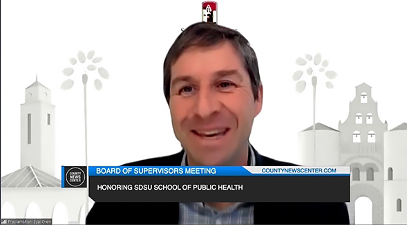 Eyal Oren, the interim director for SDSU's School of Public Health, at the virtual meeting.