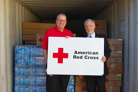 Bill Earley, the CEO of the American Red Cross, with Tom McCarron, SDSU's vice president of Business and Financial Affairs.