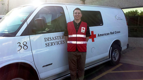 Mike Verrier, a student and Red Cross volunteer.