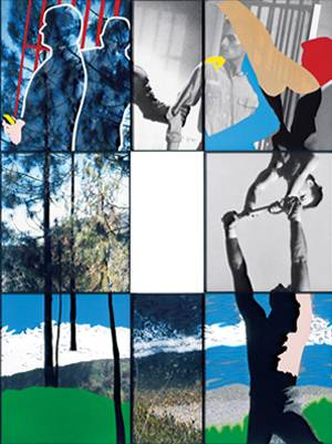 Junction Series: Landscape, Seascape, Prisoner, and Acrobats, 2002 (digital photographic prints with acrylic on sintra board)