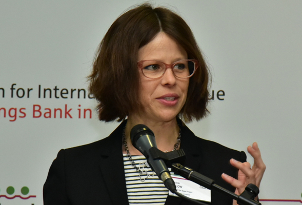 Sage Project Director Jessica Barlow speaks at the Resilient Cities 2016 conference in Germany.
